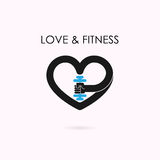 Heart sign and dumbbell icon.Fitness and gym logo.Healthcare,sport,medical and science symbol.Healthy lifestyle vector logo. Template.Vector illustration vector illustration