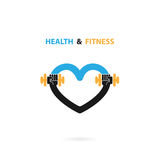 Heart sign and dumbbell icon.Fitness and gym logo.Healthcare Stock Image