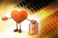 Heart sign with first aid box. In color background Stock Images