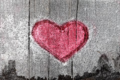 Heart sign on frozen wood Stock Images