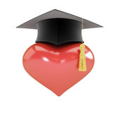 Heart sign graduation hat Royalty Free Stock Photos
