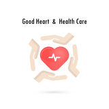 Heart sign and hands icon.Good heart & health care concept.Healt Stock Photos