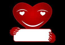 Heart with a sign in his hands. Vector art illustration Stock Image