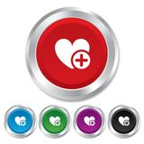 Heart sign icon. Add lover symbol. Royalty Free Stock Photography