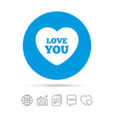 Heart sign icon. Love you symbol. Stock Image