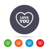 Heart sign icon. Love you symbol. Royalty Free Stock Photography