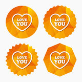 Heart sign icon. Love you symbol. Royalty Free Stock Image