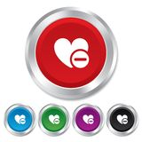 Heart sign icon. Remove lover symbol. Stock Images