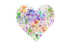 Heart sign of ink splashes. Heart sign of colorful ink splashes on white background royalty free illustration