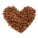 Heart sign made of roasted coffee beans. Isolated in white background Stock Images