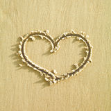 Heart sign on a sand. Heart sign had been made on sand, on a beach during summer holidays. Relax, resting, summer break. Kids plays. Postcard royalty free stock images