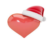 Heart sign in Santa hats 3d Illustrations Stock Images