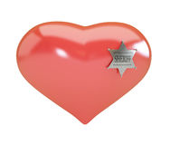 Heart sign sheriff's badge on white background. Royalty Free Stock Photography