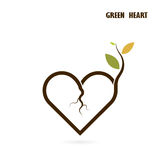 Heart sign and small tree icon with Green concept.Love nature cr Royalty Free Stock Photography