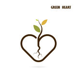 Heart sign and small tree icon with Green concept Stock Photography