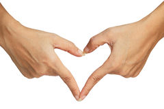 Heart signal making by hand Royalty Free Stock Photos