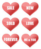 Heart signs. Hearts with messages isolated on white royalty free illustration