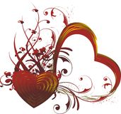 Heart silhouette. Red silhouette of heart with a vegetative ornament Stock Photography