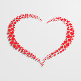 Heart with silhouette consist of small red hearts. Beautiful heart with silhouette consist of small red hearts isolated on gray background Royalty Free Stock Image