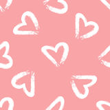Heart silhouette painted rough brush. Seamless pattern. Stock Photo