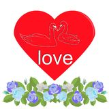 Heart with silhouette of swans and garland of blue roses vector illustration
