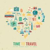 Heart silhouette with travel flat icons. Travel and tourism concept. Vector Royalty Free Stock Photo