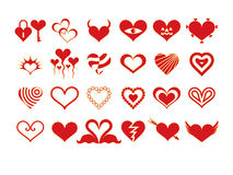 Heart Silhouettes (red) Royalty Free Stock Images