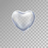 Heart Silver balloon on background. Royalty Free Stock Photo
