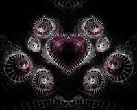 Heart on Silver Fractal. A heart shaped fractal encased in silver metal generated in Apophysis stock illustration