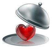 Heart on a silver platter Stock Photography