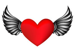 Heart with silver wings Stock Photo
