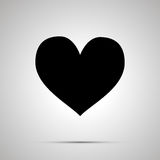 Heart simple black icon. Heart simple modern black icon with shadow Stock Image