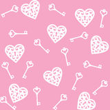 Heart and skeleton key. Seamless pink background with lock shaped heart and skeleton key stock illustration
