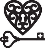 Heart and skeleton key Stock Image