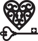 Heart and skeleton key. Lock shaped heart and skeleton key vector illustration