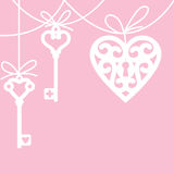 Heart and skeleton key. Hanging lock shaped heart and skeleton key royalty free illustration