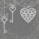 Heart and skeleton key Royalty Free Stock Photo