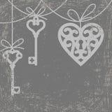 Heart and skeleton key. Vintage grunge card with hanging lock shaped heart and skeleton key vector illustration