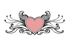 Heart sketch. Heart vector graphic, tattoo style Stock Photography