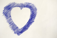 Heart sketch with a pen ball Stock Photography