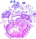 Heart sketched doodles Royalty Free Stock Image
