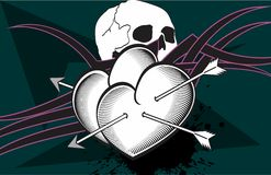 Heart and skull arrows tattoo  background Royalty Free Stock Image