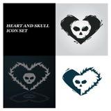 Heart and Skull. Icon set Stock Photos