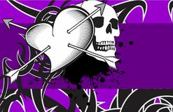Heart and skull tattoo  background Stock Photography