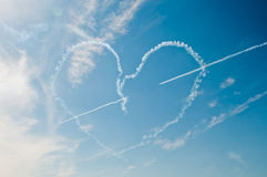 Heart in sky. On air show Royalty Free Stock Photos