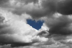 Heart  in the sky. Heart in the sky made out  of the stormy clouds Stock Images