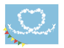 Heart in the sky. Airplanes paint heart in the sky stock illustration
