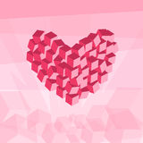 Heart in the sky. Cubes composition isometric vector illustration of loving symbol Stock Photography