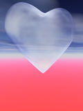 3D heart with cloudy texture. A 3d heart with a kind of cloud material surface in front of a abstract purple and blue colored sky stock illustration