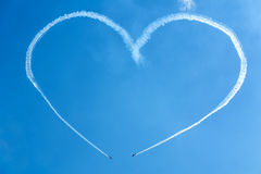 A heart in the sky from planes Royalty Free Stock Photo